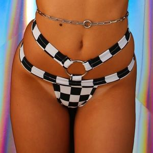 Shop B glittz checkered o ring bottoms worn once